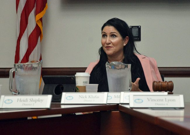 Palm Coast Mayor Milissa Holland took control of the city council well before the firing of Jim Landon. She is now overreaching. (© FlaglerLive)