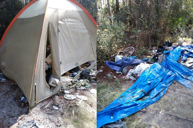 Scenes from the homeless camp behind the library, as captured by Jack Howell.