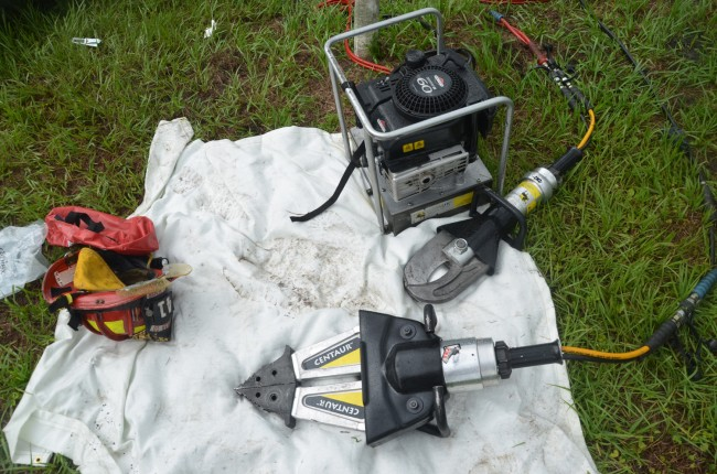 Some of the equipment Flagler County Fire Rescue paramedics used during the 54-minute extraction. Click on the image for larger view. (© FlaglerLive)