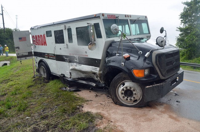 The armored truck, where it impacted the pick-up. Click on the image for larger view. (© FlaglerLive)