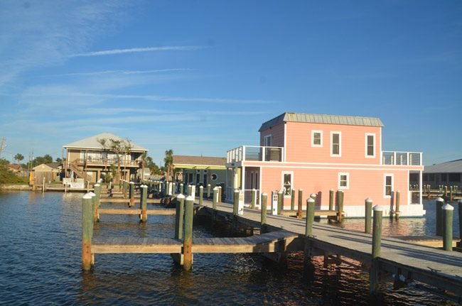 The only two finished house boats at Howard Sklar's marina on the Intracoastal. He wants 50 more. (© FlaglerLive)