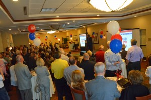 It was standing room only at Howard Holley's campaign kick-off Monday at the Hilton Garden Inn in Palm Coast. Click on the image for larger view. (c FlaglerLive)
