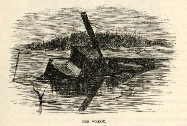huckleberrry finn the wreck e.w. kemble illustration