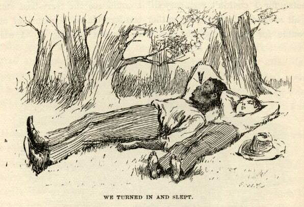 huckleberrry finn mark twain jim and huck asleep turned in e.w. kemble illustration