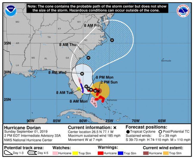 Hurricane Dorian's projected path remains dangerously close to the Flagler coastline, and as a catastrophic, major hurricane.