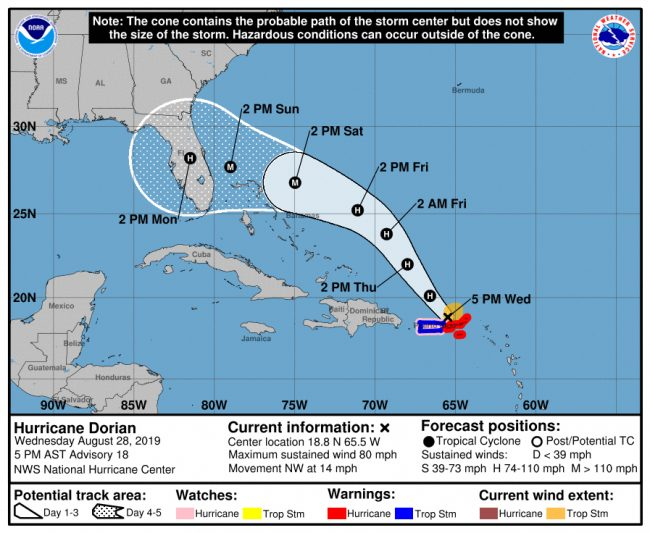 Hurricane Dorian's path took a slight turn south in the Wednesday, 5 p.m. update from the National Hurricane Center, but remains at a Category 3 strength, and a cone of uncertainty of 200 miles.