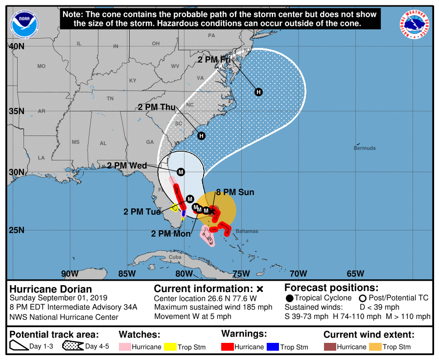 With little change since Sunday morning, Hurricane Dorian's projected path as of Sunday at 8 p.m. keeps Flagler's entirety in the storm's cone of probability.