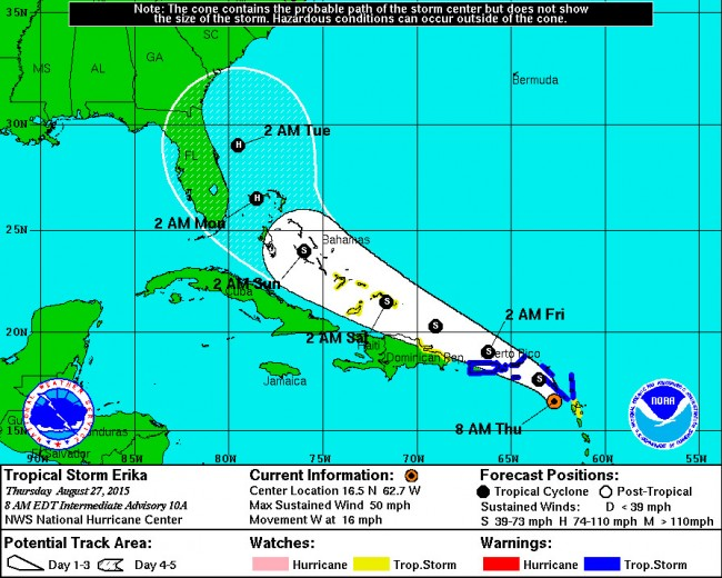 Tropical Storm Erika is projected to become a hurricane by Monday, but its path, previously targeting the Florida coast, is now edging eastward. That could, of course, still change. Click on the image for larger view.