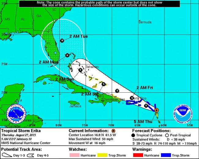 hurricane erika path