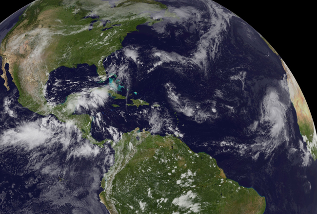 Hurricane Humberto, spawned in West Africa, was the first of only two Atlantic hurricanes in 2013. It reached peak intensity, with top winds of 90 mph, in the far eastern Atlantic. (NOAA)