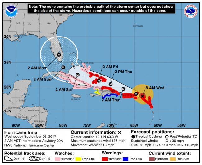 Hurricane Irma's track as of 8 a.m. Wednesday, Sept. 6. Click on the image for larger view.