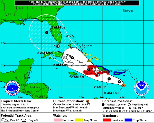 tropical storm hurricane isaac florida