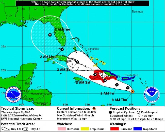 tropical storm hurricane isaac florida