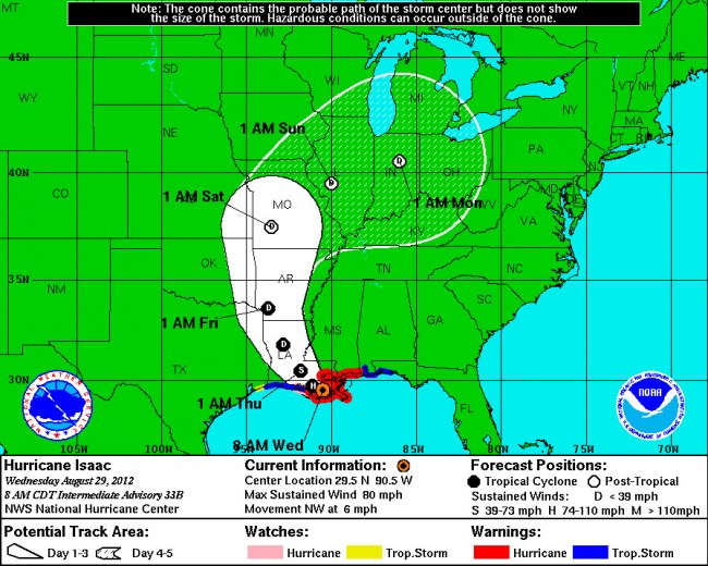 Hurricane Isaac as of 8 a.m. Wednesday, Aug. 29. Click on the image for larger view.