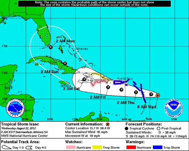 Click on the map for Tropical Storm/Hurricane Isaac's path.