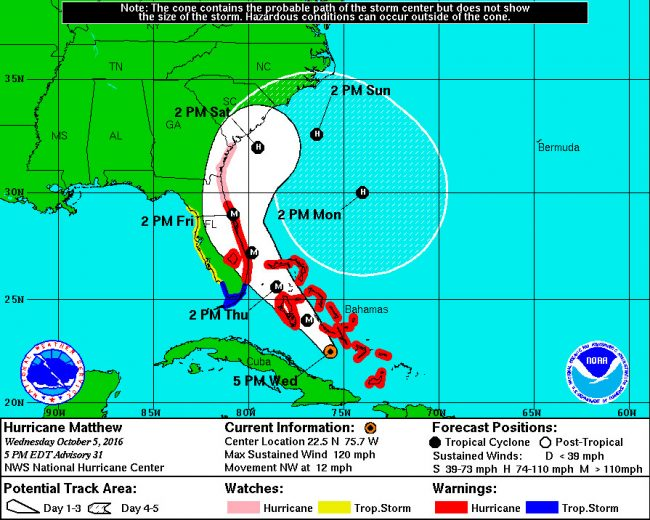 The latest track of Hurricane Matthew, at 5 p.m. Wednesday, shows the storm striking almost a direct hit on Flagler County Friday afternoon. Click on the image for larger view.
