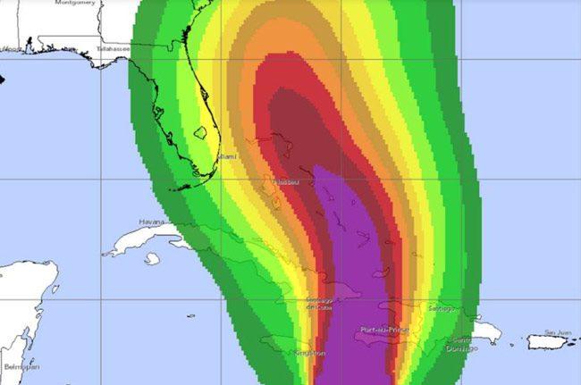 hurricane Matthew winds path