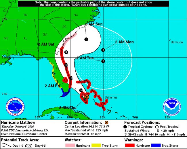 Hurricane Matthew continued its threatening track toward Flagler County Thursday morning. Click on the image for larger view.