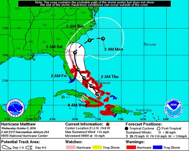 hurricane matthew Wednesday 8 a.m. track