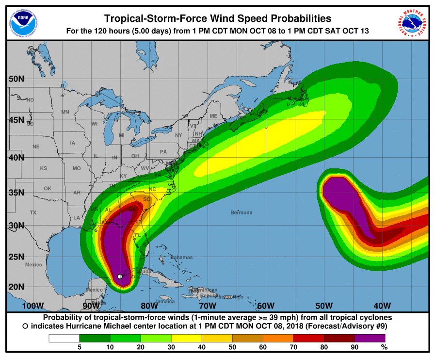 Hurricane Michael's expected wind path as of 5 p.m. Monday. (NOAA)