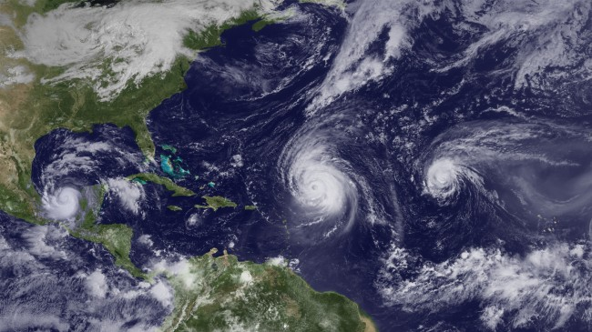 Hurricanes Karl, Igor and  Julia  (from left to right on Sept. 16) were part of the onslaught of Atlantic storms this season.