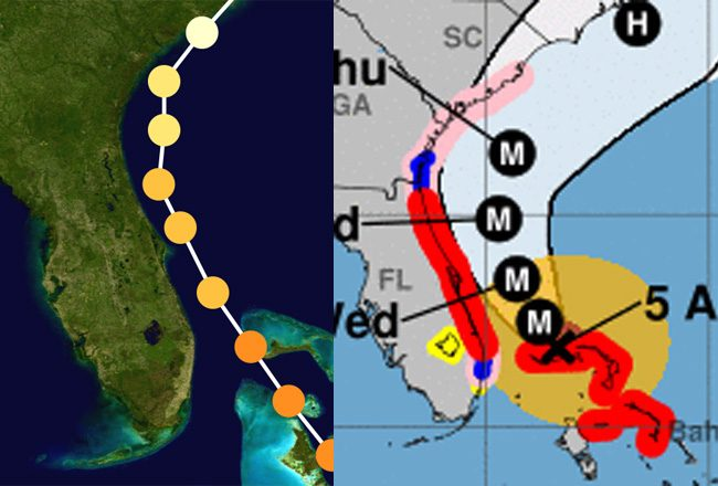 Hurricane Matthew's actual grack in October 2016, left, compared to Hurricane Dorian's expected track today and Wednesday.