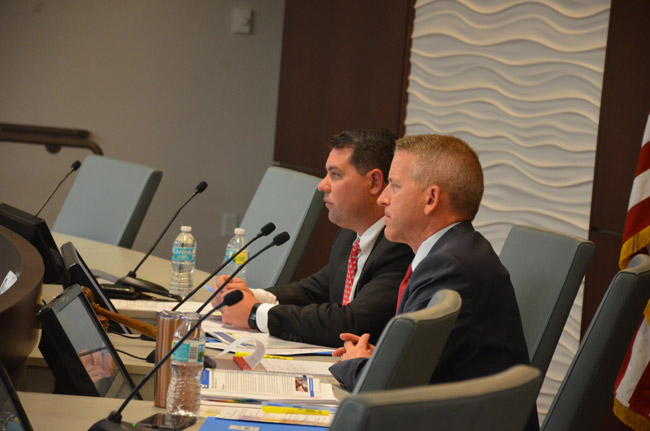 Sen. Travis Hutson, left, and Rep. Paul Renner, both Republicans, at last year's legislative delegation meeting in Flagler, held at Palm Coast City Hall. (© FlaglerLive)