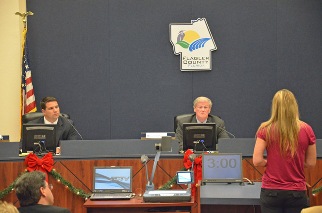 Travis Hutson, left, and John Thrasher, now the sum total of Flagler County's legislative delegation, listened to almost two hours of direct lobbying and appeal from local leaders and residents, but distanced themselves from the evening's most contentious issue: vacation rentals. (© FlaglerLive)