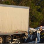 The crash that took the life of the pick-up driver was the fourth in the span of four hours in a four-mile stretch of I-95 in Palm Coast this afternoon. (© FlaglerLive)