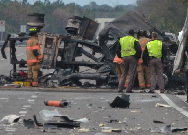 The remains of the fuel truck on I-95 this morning. (c FlaglerLive)