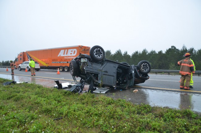 The SUV involved in the two-vehicle wreck on I-95 Monday afternoon. Click on the image for larger view. (© FlaglerLive)
