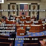 The vote this afternoon., in a still from the House's video feed.