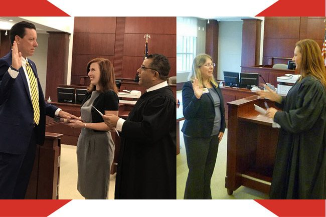 Tom Bexley, left, was sworn-in as Clerk of Court by Circuit Judge Raul Zambrano, with Bexley's wife, Stacy, holding the Bible. At right. County Judge Melissa Moore-Stens swore-in Elections Supervisor Kaiti Lenhart. (Images contributed by the constitutional officers.)