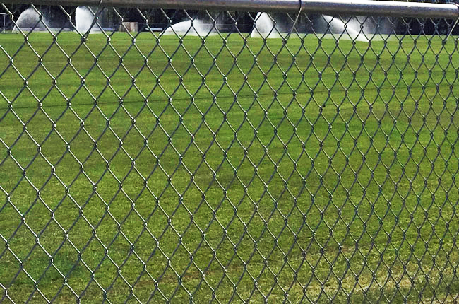 Fences are coming down between Palm Coast and county fields. Above, watering the fields at the Indian Trails Sports Complex. (© FlaglerLive)