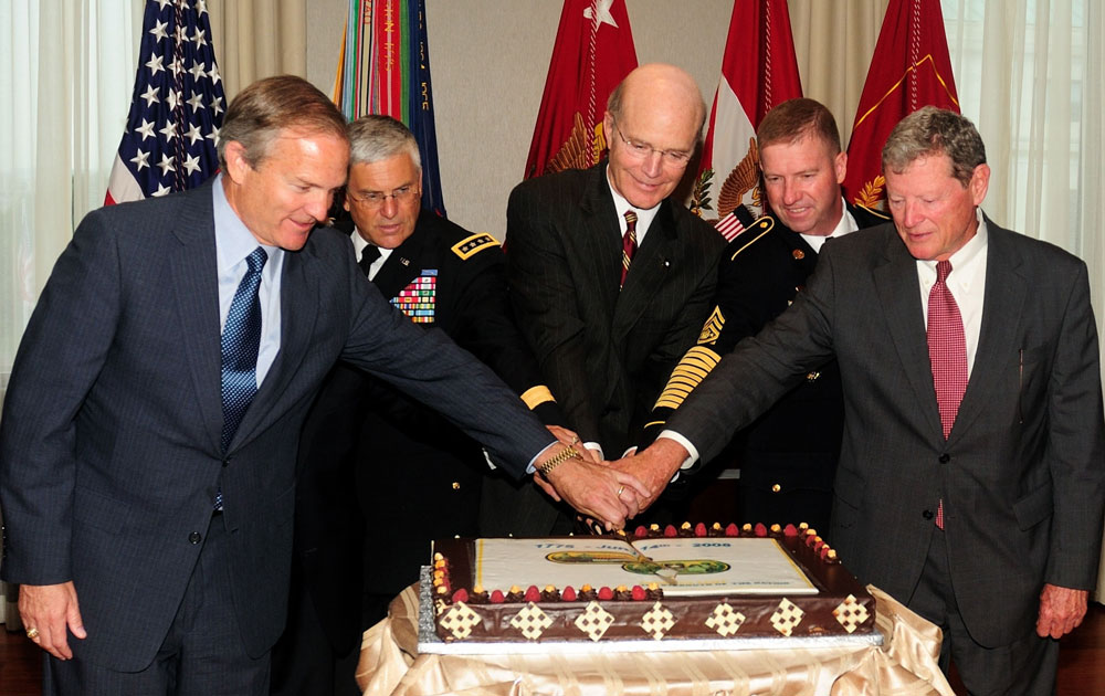 Sen. Jim Inhofe, right, celebrating a different birthday in 2008--the Army's 233rd. (US Army)