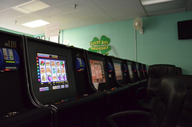 Internet cafe sites like this one in Palm Coast were shuttered after the Legislature banned the businesses, but some businesses have continued to operate under different guises. (c FlaglerLive)