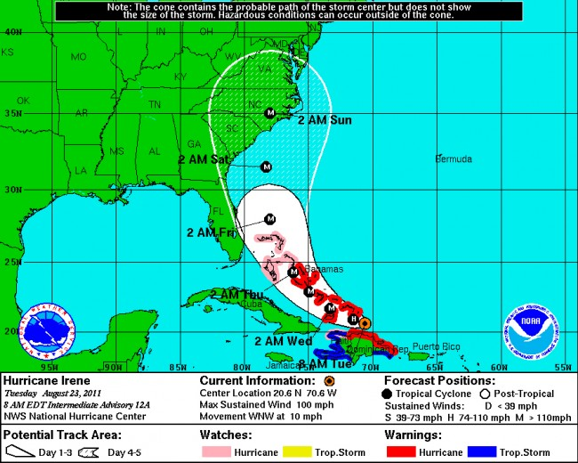 On Tuesday monrning, Irene's path appeared to be veering further east, which was good news for Florida, bad news for North Carolina.