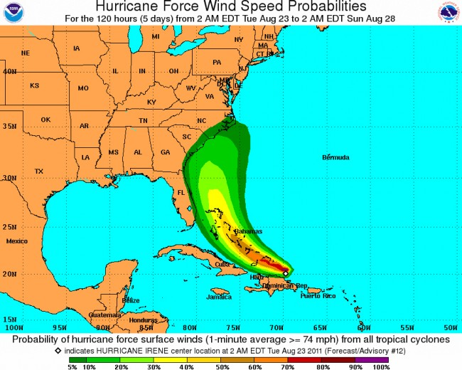 hurricane Irene wind speed probabilities for florida north carolina south carolina