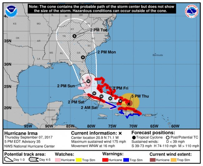 Hurricane Irma's track at 5 p.m. Thursday. Click on the image for larger view.