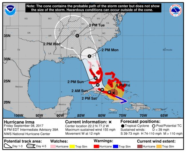 Hurricane Irma's track at 8 a.m. Friday. Click on the image for larger view.