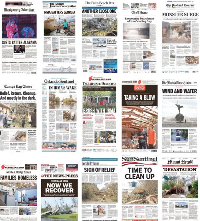 Irma's front pages.