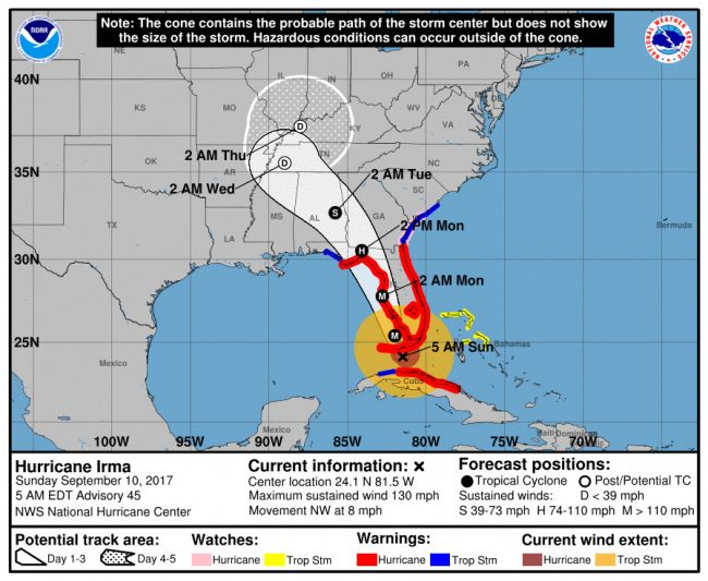 Hurricane Irma's track Sunday morning at 5 a.m. Click on the image for larger view.