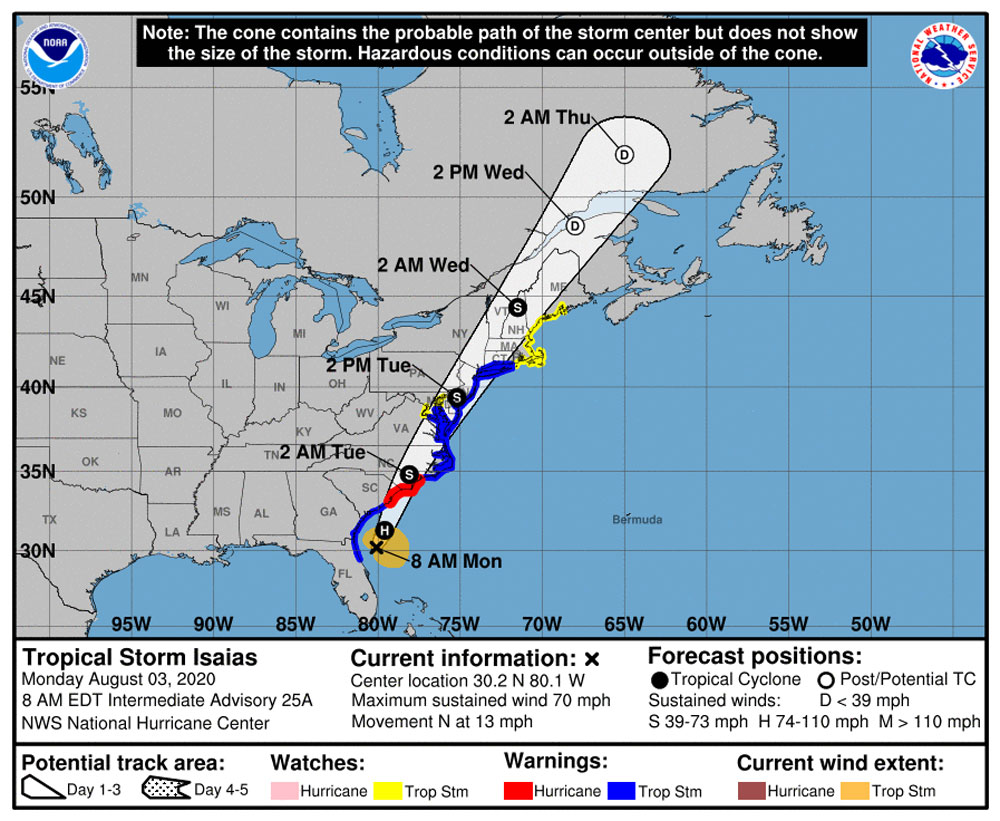 Tropical Storm Isaias was parallel with Flagler County Monday morning, but well offshore.