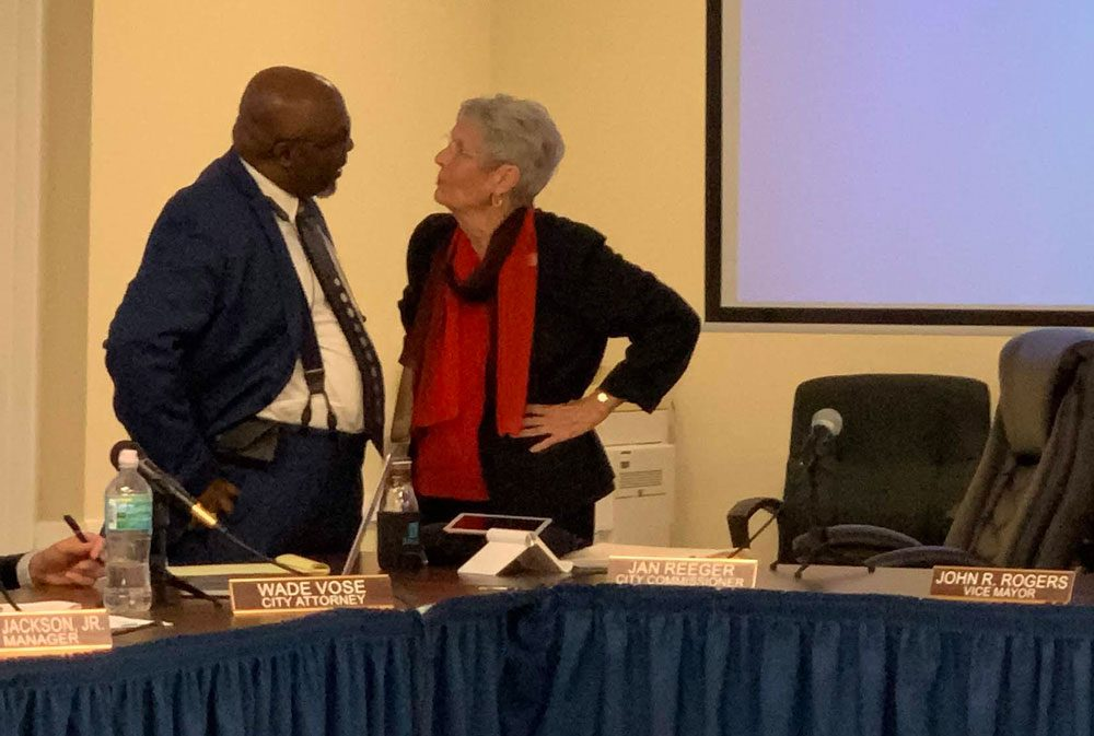 Alvin Jackson and Jan Reeger, toe to toe immediately after the end of the meeting Monday evening when Reeger attempted to fire Jackson. (© FlaglerLive)