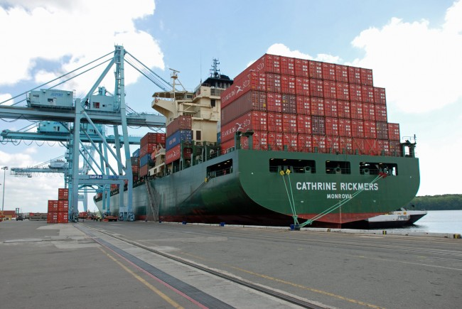 A ship at the Jacksonville Port Authority's Talleyrand Marine Terminal. (Jaxport)