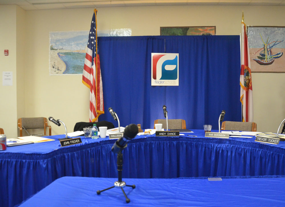The Flagler school board's interview set-up five years ago, when it hired Jacob Oliva as superintendent. It'll be going through the third such exercise again in March. (© FlaglerLive)
