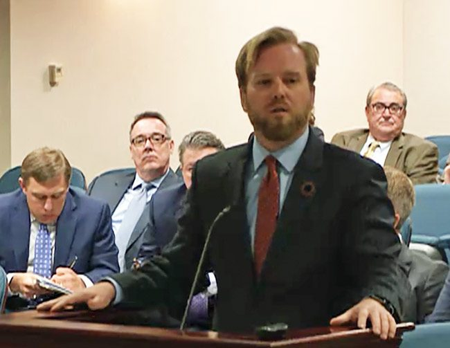 Blowhardism in action: House Rep. James Grant, who led the fight for restrictions on Amendment 4. (Florida Channel)