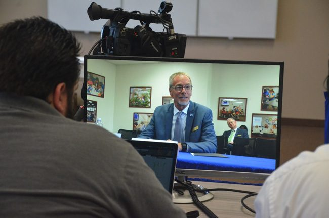 Incoming Superintendent James Tager during his interview with the School Board on April 20. (c FlaglerLive)