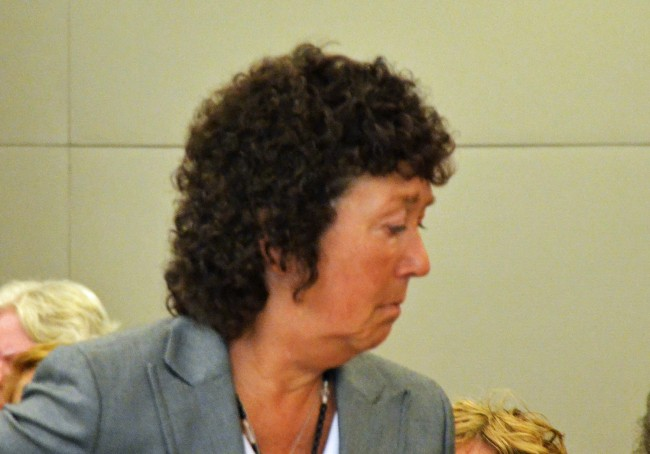 Jamesine Fischer in court this afternoon, just before her sentencing. (c FlaglerLive)