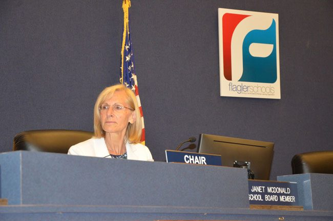 Janet McDonald, as chair of the Flagler County School Board, has been driving the conversation about the next superintendent. (c FlaglerLive)